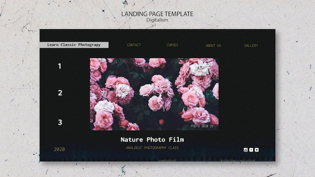 Landing page template nature photo film