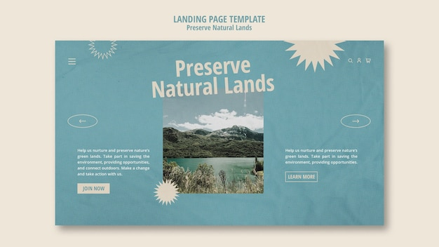 Landing page template for nature preservation with landscape