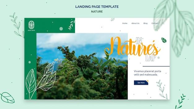 Modello di pagina di destinazione per la natura con paesaggio di vita selvaggia