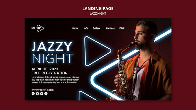 Landing page template for neon jazz night event