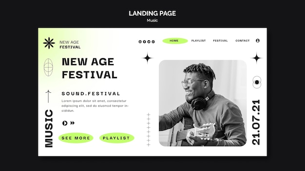 Landing page template for new age music festival