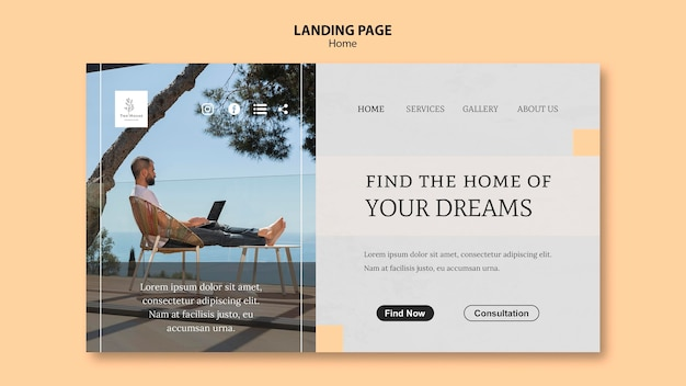 Landing page template for new dream home