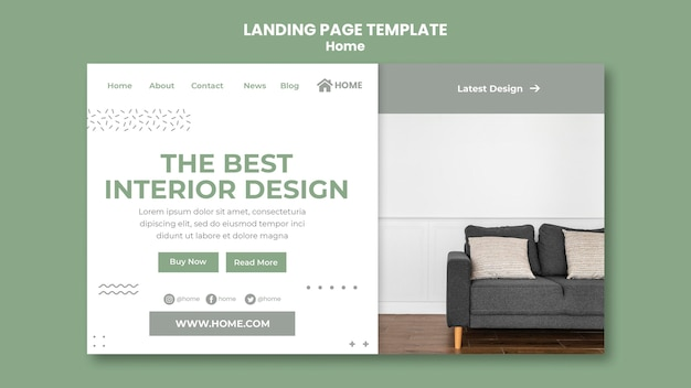 Landing page template for new home interior design
