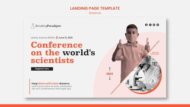 Landing page template for new scientists conference