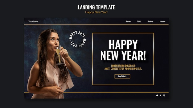 Landing page template for new year celebration