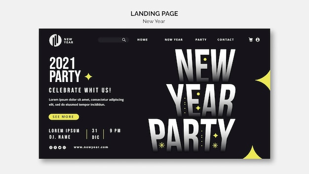 Landing page template for new year party