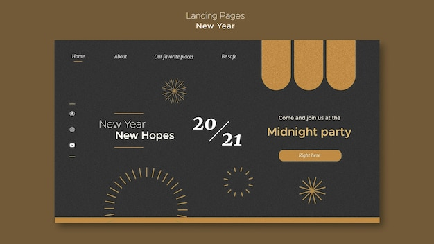 Landing page template for new year's midnight party