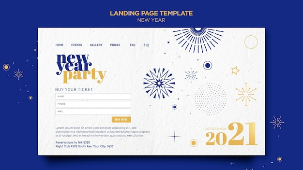 Landing page template for new years party celebration