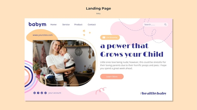 Landing page template for newborn baby