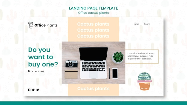 Landing page template for office workspace plants