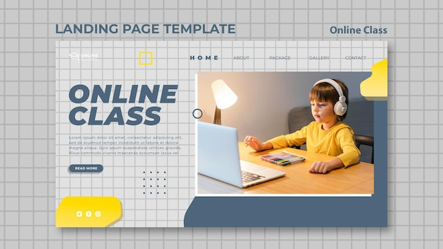 Landing page template for online classes with child