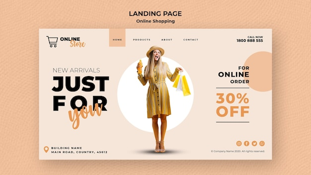 Landing page template for online fashion sale