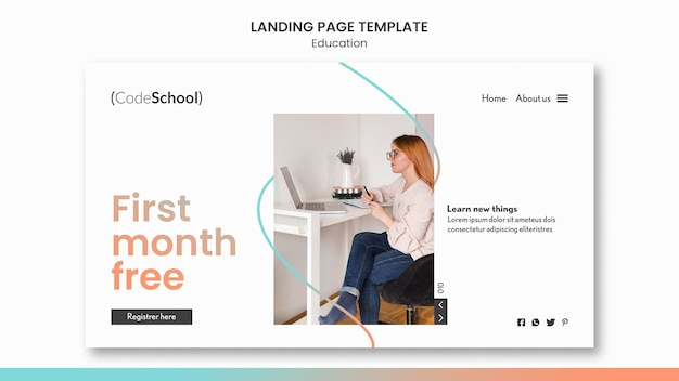 Landing page template for online programming school