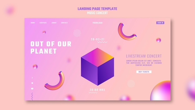 Landing page template of out of our planet music concert