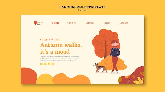Landing page template for outdoors autumn activities
