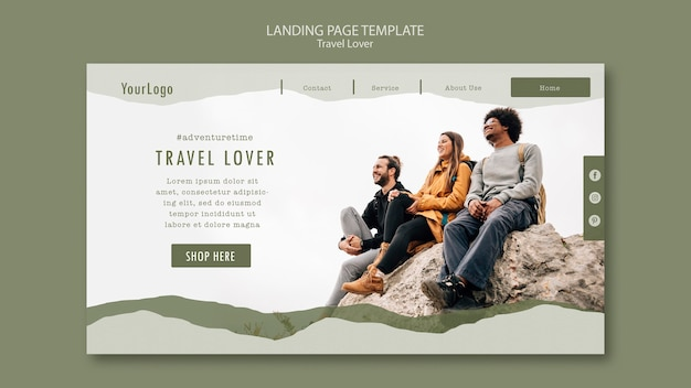 Landing page template for outdoors traveling