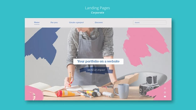 Landing page template for painting portfolio on website