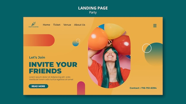 Landing page template for party celebration with woman and balloons
