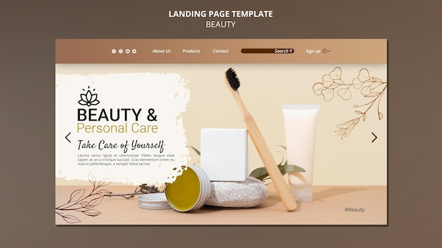 Landing page template for personal care and beauty