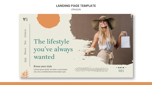 Landing page template for personal lifestyle