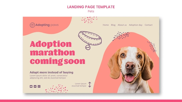 Landing page template for pet adoption with dog