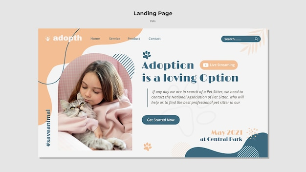 Landing page template for pet adoption