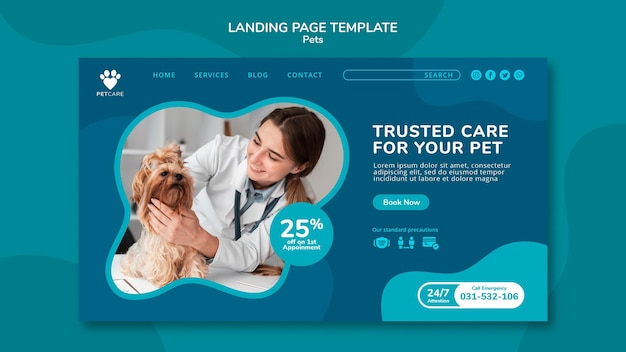 Landing page template for pet care with female veterinarian and yorkshire terrier dog