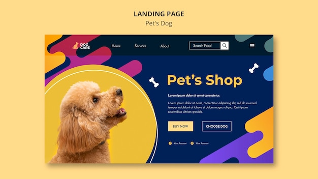 Landing page template for pet shop business