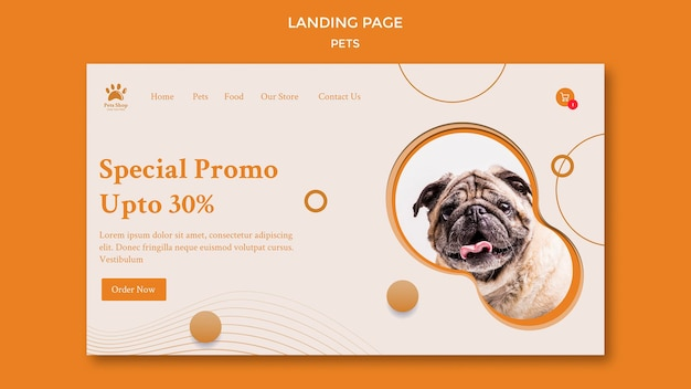 Landing page template for pet shop with dog