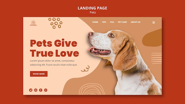 Landing page template for pets with cute dog