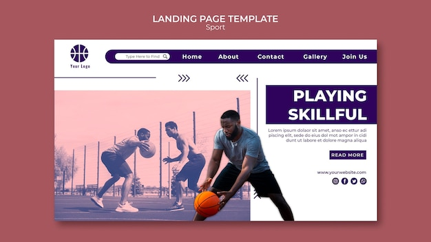 Landing page template for playing basketball