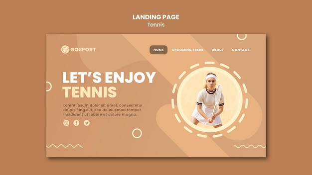 Landing page template for playing tennis