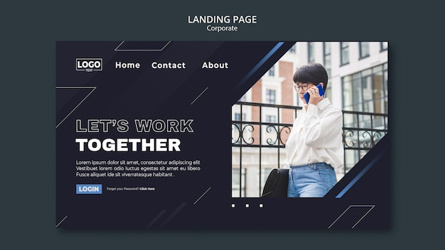 Landing page template for professional business corporation