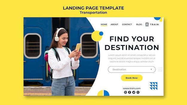 Modello di pagina di destinazione per il trasporto pubblico in treno con la donna