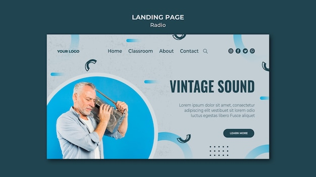 Landing page template for radio transmission
