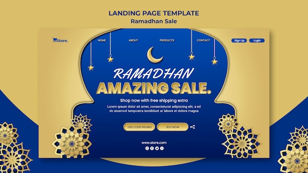 Landing page template for ramadan sale