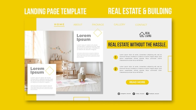 Landing page template for real estate and building