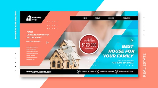 Landing page template for real estate company