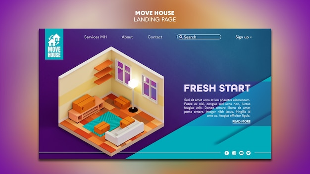 Landing page template for residence relocation services
