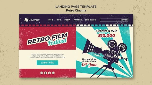 Landing page template for retro cinema