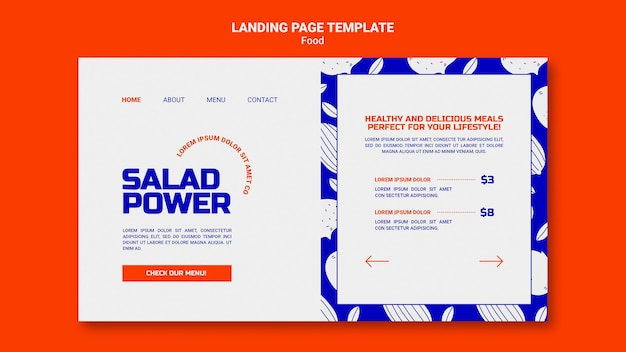 Landing page template for salad power