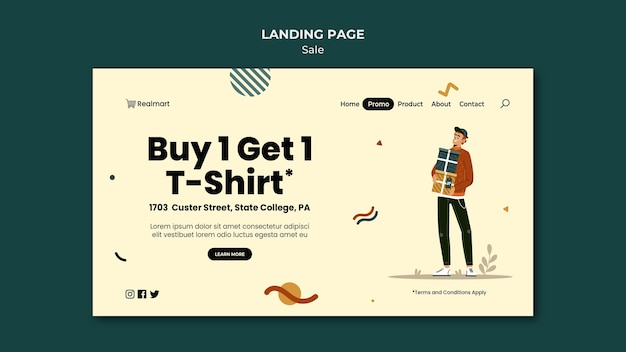 Landing page template for sale with man and gifts