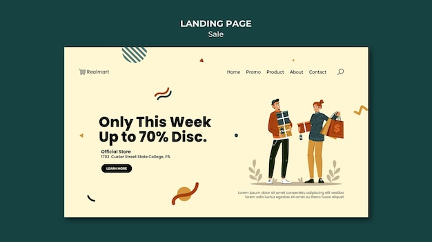 Landing page template for sale with people and shopping bags
