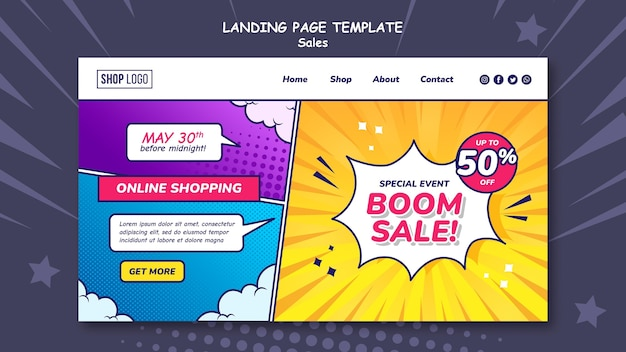 Landing page template for sales in comic style