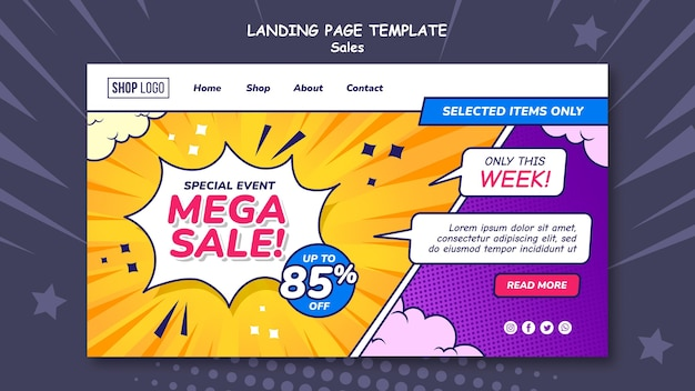 Modello di pagina di destinazione per le vendite in stile fumetto