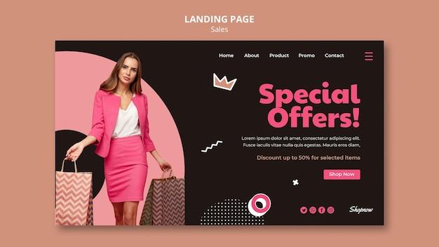 Modello di pagina di destinazione per le vendite con donna in abito rosa