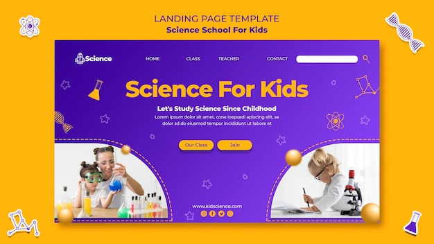 Landing page template for science school for children