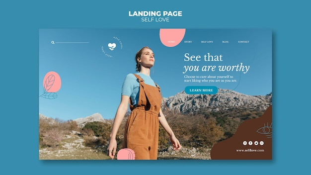Landing page template for self-love and  acceptance