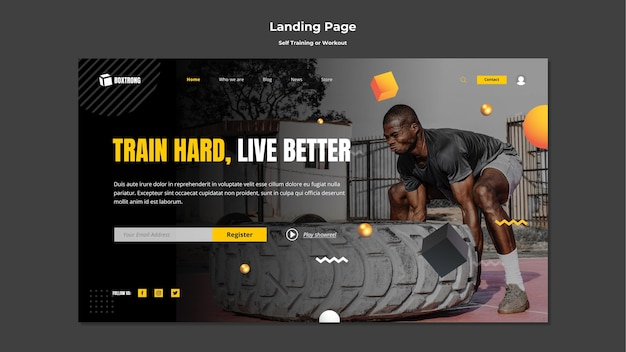 Landing page template for self training and working out