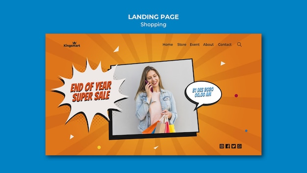 Landing page template for shopping with woman holding shopping bags